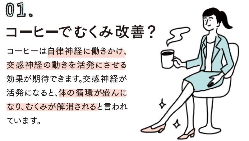 コーヒーは自律神経に働きかけ、交感神経の動きを活発にさせる効果が期待できます。交感神経が活発になると、体の循環が盛んになり、むくみが解消されると言われています。